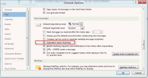 Automatic name checking dialog in Outlook 2010