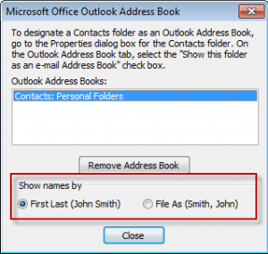 outlook 2007 how to set sort order