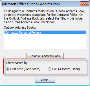 Change the sort order in Outlook 2003 address book