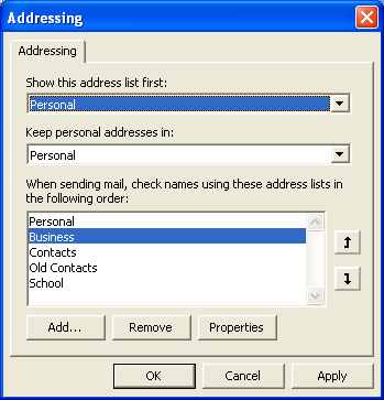 Addressing options in Outlook 2007 and earlier