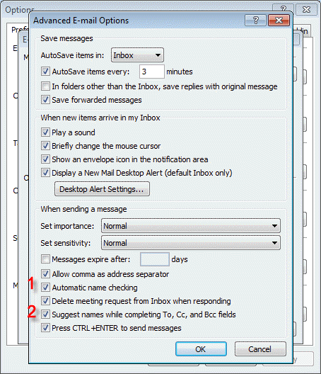 Change the autocomplete and autoresolve settings