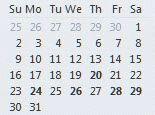Bolded dates in the navigation calendar