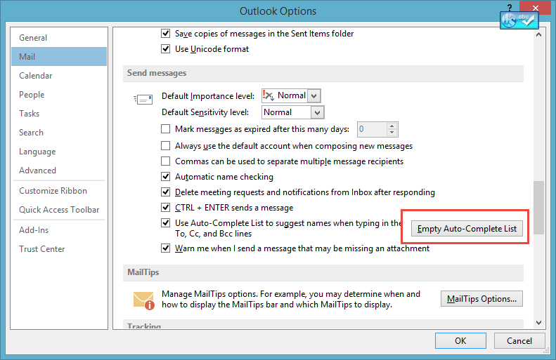 Tip 147: Using Outlook's Autocomplete Cache
