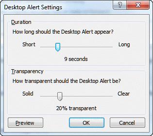 Desktop alert settings