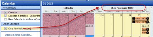 Calendar opened using open shared calendar