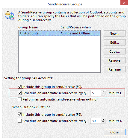 Automatically Check for Email in Outlook