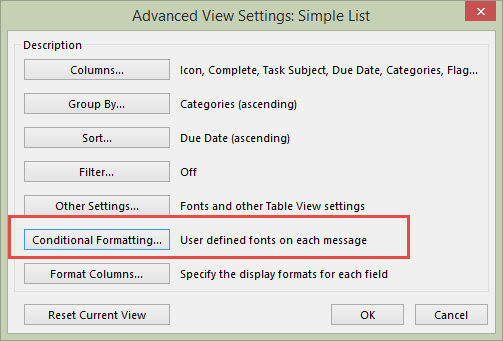 conditional formatting in view settings