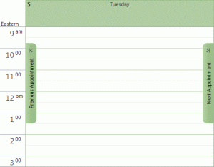Outlook's previous and next handles on the calendar