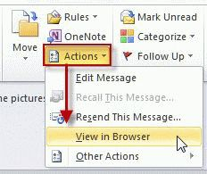 View in browser command in Outlook 2007/ 2010
