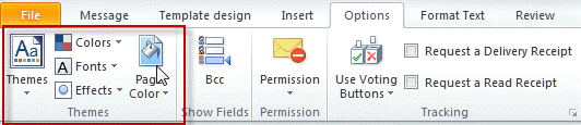 Outlook Themes options (Stationery)