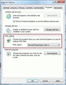 Set HTML editor in Internet Options dialog