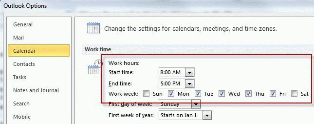 Flag reminders use Work week settings