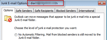 Outlook's Junk Email Options dialog