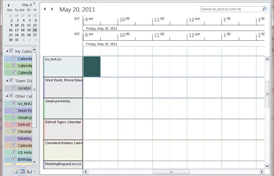 Schedule view in Outlook 2010