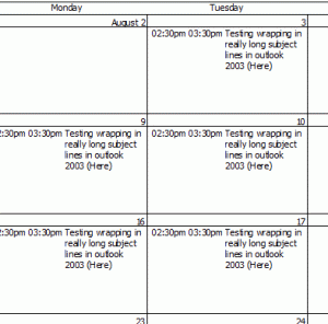 Outlook 2003 monthly calendar printout
