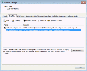 Outlook 2007 and 2010 Account settings dialog