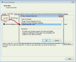 Use the Add button to select a data file