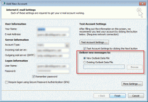 Choose a pst file when you configure a profile in Outlook 2010