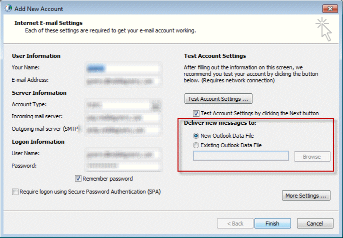 Use Existing Data File As The Delivery Location