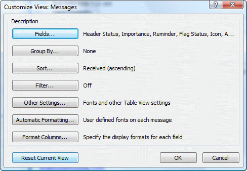 How to Reset the View on Outlook folders