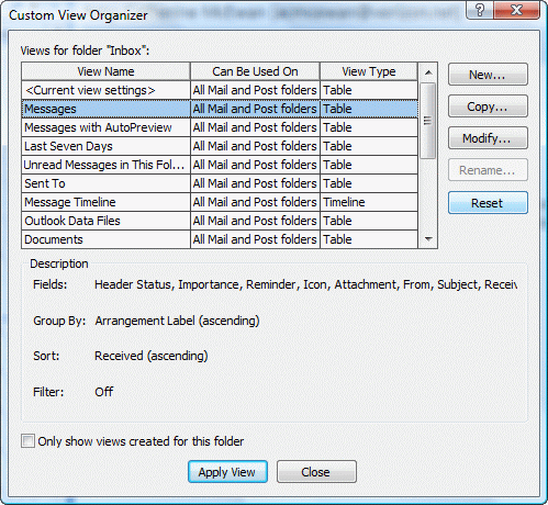 Use the define views dialog to reset the view in all folders using that view