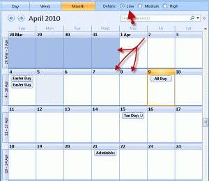 Low details in Outlook's calendar