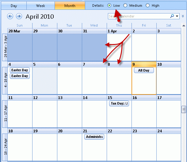 Calendar Detail View in Outlook