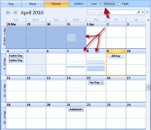 Outlook 2007 calendar details