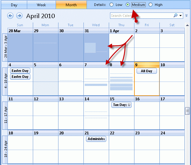 Calendar Monthly Meaning : Calendar detail view in outlook tips