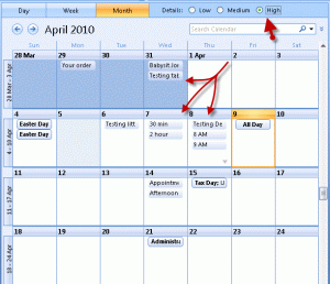 Outlook calendar details