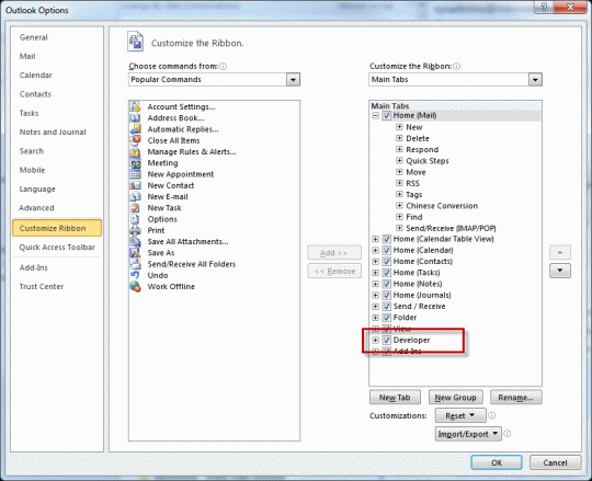 Enable Developer ribbon in Outlook 2010