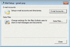 Mail setup dialog in control panel