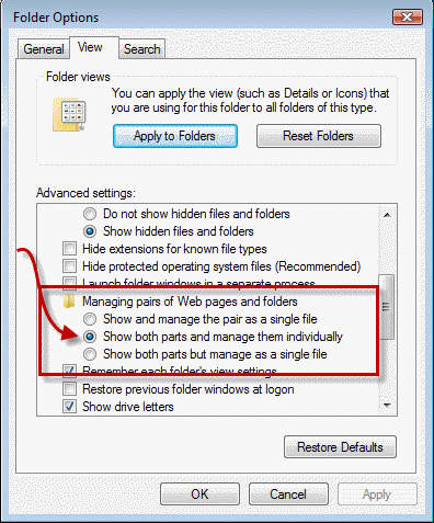 Dialog with options for HTML file handling