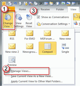 Outlook 2010's View ribbon