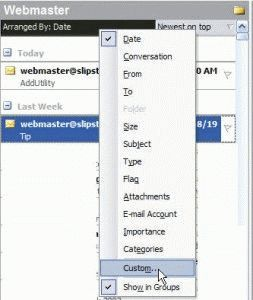 Outlook's view menu