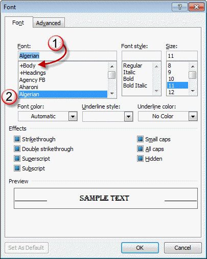 Change the font in Outlook