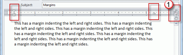 Adjust margins using the ruler, just as you would in Word.