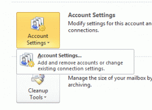 The Account settings dialog when you have POP3, IMAP, or Outlook Connector account