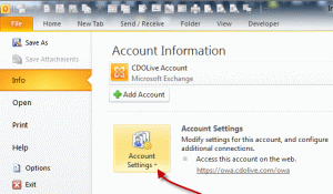 File, Account Settings button in Outlook 2010