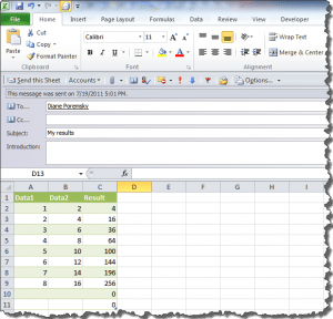 Excel worksheet, ready to send