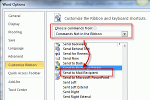 Add the Send to mail recipient command to the ribbon or QAT