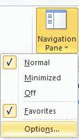 Navigation pane options menu