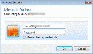 Outlook Network Password dialog