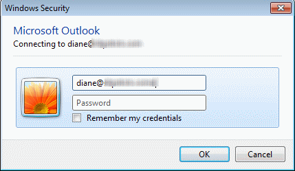 Outlook Netwrok Password dialog