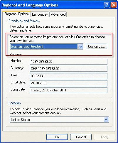 Regional and Language Settings in Windows XP