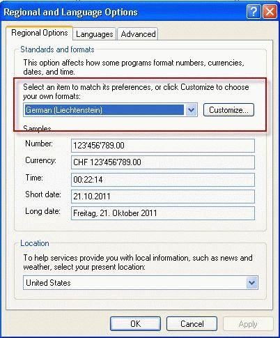 Regional and Language Settings in Windows XP