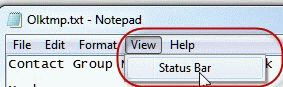 Turn on the Status bar in Notepad