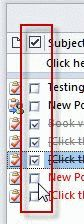 Click in the box to mark complete in list view