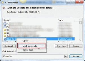 Right click on the task and choose Mark Complete