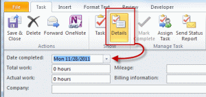 Change the completed date on the Details page